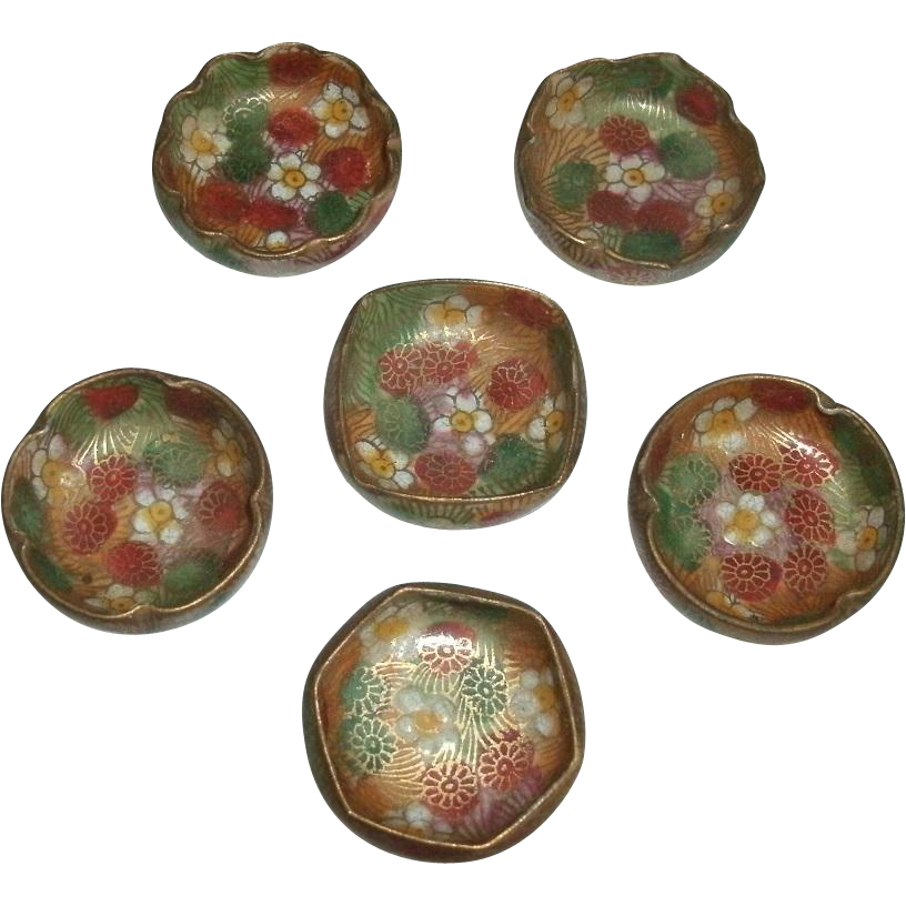 Vintage Set of 6 Oriental Japanese Hand Painted Porcelain Floral Open Salts / Salt Dips / Salt Cellars