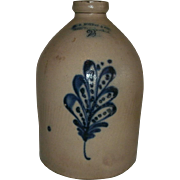 "19TH c. 2 Gallon Saltglaze Stoneware Cylindrical Jug with Deep Cobalt Blue Slip-Trailed Flower / Leaf Decoration - ""F.B. NORTON & CO. WORCESTER, MASS."""