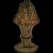 Original Antique Cast Iron BASKET OF FLOWERS Doorstop in Original Painted surface - Decorative Incised Back