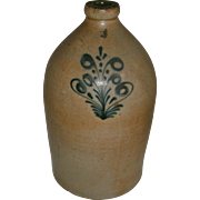 19TH c. 3 gallon Saltglaze Stoneware Cylindrical Jug with Cobalt Blue Slip Trailed Foliate Decoration