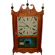 Exceptional Bench Made Tiger Maple Federal Style Eli Terry Pillar & Scroll Clock - Brass Works