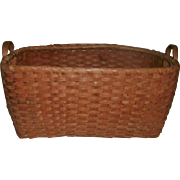 19th Century Antique Shaker Quality Oak Splint Clothes / Gathering Basket - Wonderful Carved Handles