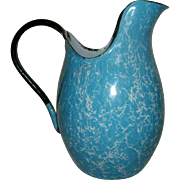 Antique Victorian Blue & White Swirl Graniteware Enamelware Pitcher