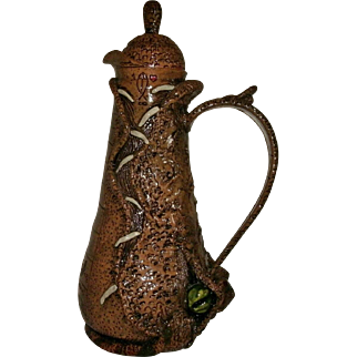 "Folk Art Stoneware Alligator & Snake Pitcher / Jug by ""THE WAYWARD POTTER"" Randy Adams - Florida Potter"