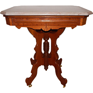 Victorian / Eastlake Solid Walnut Brown Marble Top Parlor Table - Circa 1870