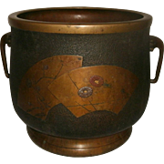 19th Century Japanese Bronze Hibachi / Brazier / Cache Pot Decorated with Incised & Inlaid Silver, Gold & Copper Floral Decoration - Signed - Meiji Period