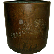 19th Century Japanese Bronze Brazier / Cache Pot Decorated with Incised Floral or bamboo Decoration and a silver inlaid circle