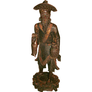 "18.5"" Asian Antique 19th C Chinese Hand Carved Gilded Wooden Fisherman Figure w/ Carved Removable Hat"
