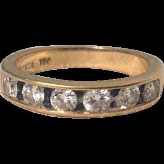 TIFFANY & CO. 18K Yellow Gold, Diamond And Sapphire Band Ring w/ Original Receipt $2900