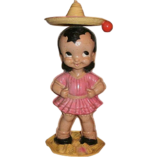 Vintage Wind-Up Celluloid Mexican Girl Senorita Toy With Spinning Hat Sombrero - Ex. Condition