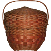 Wonderful Large 19th Century Antique New England Native American Handled Splint Basket With Lid