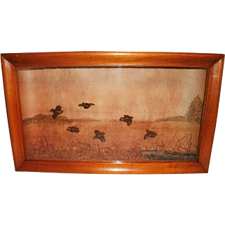 Early 20TH C. Folk Art Diorama Of 6 Carved Wooden Grouse In Flight W/ Hand Painted Water color Background