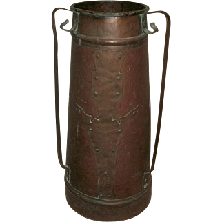 Fantastic Period ARTS & CRAFTS Mission Era STICKLEY ROYCROFT Quality Copper Umbrella Stand / Floor Vase