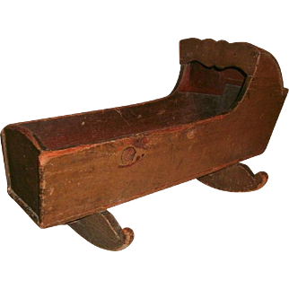 19TH C Folky Antique Wooden Hooded Doll / Toy Cradle In Original Brown Painted Surface