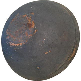"""Exceptional Large 19th Century 15 1/4"""" Round Wooden Maple Bowl In Early Dry Blue Paint"""
