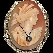 LG Antique 14k White Gold, Shell & Diamond Habille Cameo Brooch / Pendant with Filigree Heart Border