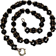 Antique 19th Century Victorian 18k Yellow Gold, Seed Pearl and Black Jet Mourning Necklace