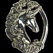 Vintage Gorham .925 Sterling Silver Oval Unicorn Pendant with Ornate Floral Design