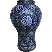 Lg Antique Blue & White Moroccan Fez PotteryVase / Jar with Ornate Metal Overlay Work - Signed