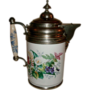 Beautiful 19th Century Victorian Graniteware / enamelware & Pewter (Silverplate) Coffee Pot with Ornate Floral Spray Decoration