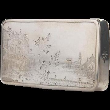 Parcel Gilt Silver Table Snuff Box By Joachim Friedrich Sebald, Germany, Ca 1800.