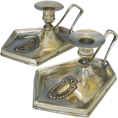 Rare Pair of Argentor Silver Plated Chambersticks Vienna Austria Ca 1900.