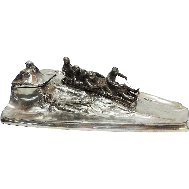 Kayser Art Nouveau Novelty Silvered Pewter Bobsleigh Inkwell & Pen Tray, Germany, Ca 1900.