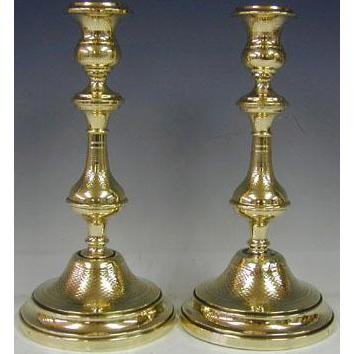 Pair Of Polish Brass Sabbath Candlesticks Warsaw Ca 1900 Judaica.