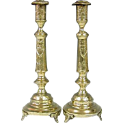 Massive Pair of Brass Sabbath Candlesticks, Norblin & Co, Warsaw, Ca 1900.