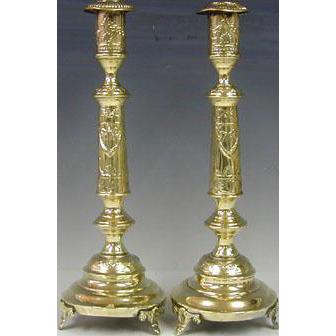 Massive Pair of Brass Sabbath Candlesticks, Norblin & Co, Warsaw, Ca 1900.