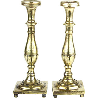 Rare Heavyweight Pair of Brass Sabbath Candlesticks Poland Late 18th Early 19th Century