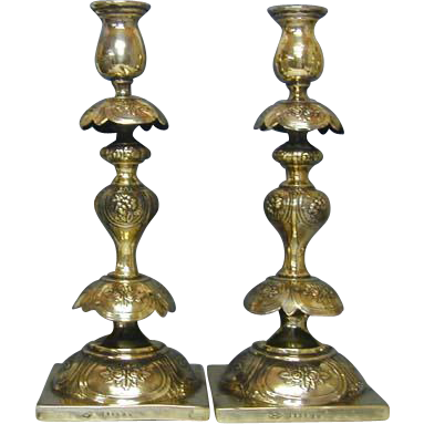 Pair of Polish Petticoat Brass Sabbath Candlesticks Szekman Warsaw Ca 1890