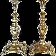 Pair Of Sabbath Brass Candlesticks, M. Jarra, Warsaw, Poland, Ca 1890
