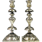 Pair of Petticoat Brass Candlesticks by M. Spiro, Warsaw, Ca 1890.
