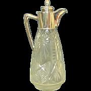 Austro-Hungarian Silver & Crystal Claret Jug / Decanter, Ca 1900.