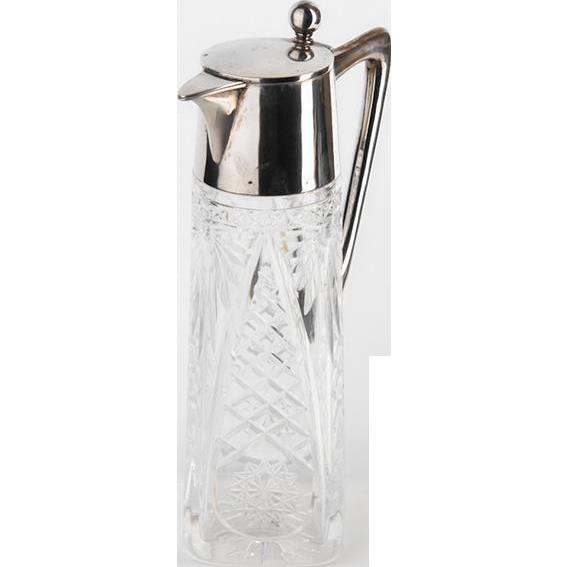 Silver & Crystal Claret Jug Decanter, Wilhelm T. Binder, Germany, Ca 1900.