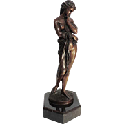 French Art Nouveau Bronze Maiden Sculpture By E. Dietrich, Ca 1880.