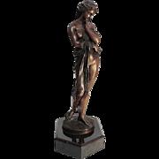 French Art Nouveau Bronze Maiden Sculpture By E. Dietrich, Ca 1880.