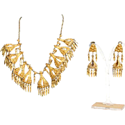 Unique Vintage Gilt Silver Necklace & Earrings Set Morocco 1950's.