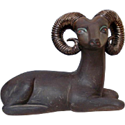 Vintage Large Ceramic Model Of A Ram, 1950's.