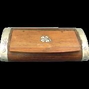 Moroccan Silver Inlaid & Mounted Wood Snuff Tobacco Box 1920's.
