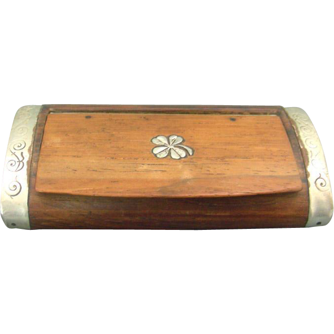 Moroccan Silver Inlaid & Mounted Wood Snuff Tobacco Box 1920's.