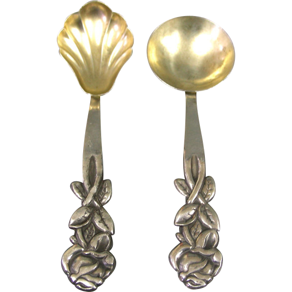 Pair Of 800 Silver Spoons Israel 1950s