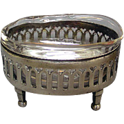 Antique Austrian Silver & Glass Open Salt Cellar, 1794.