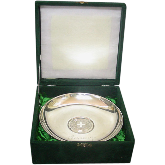 Sterling Silver Greek Foreign Minister Presentation Bowl 1970s