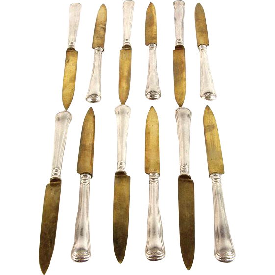 Silver Set of 12 Fruit Knives, Berlin, Germany, Circa 1860.