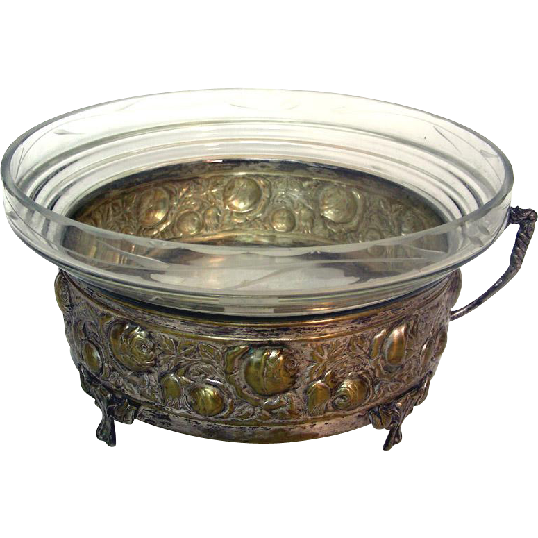 Art Nouveau Silver Plated Brass & Glass Centerpiece / Bowl, Germany, Ca 1920.
