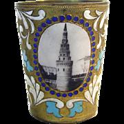 Russian Gilt Metal & Colorful Enamel Cup / Beaker, Ca 1920