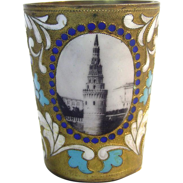Russian Gilt Metal & Colorful Enamel Cup / Beaker, Ca 1920