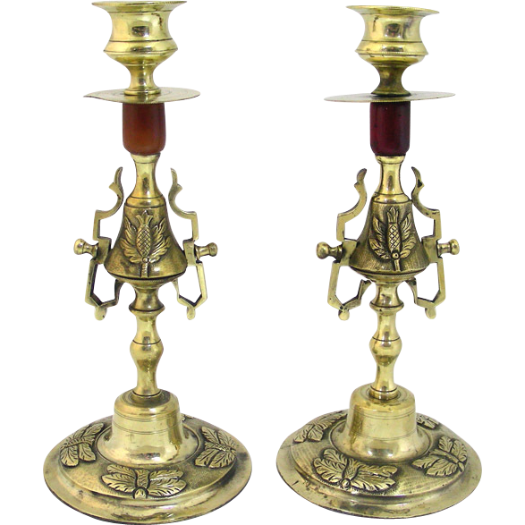 Pair Of Empire French Gilt Bronze Ormolu Candlesticks, Circa 1820.